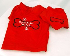 Bone to be Wild Collar Accessible Embroidered Matching 2 Piece Dog Tee and Bandana (XXSmall)