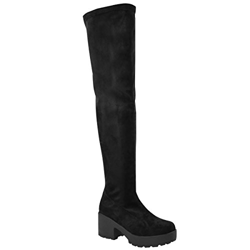 Fashion-Thirsty-Womens-Thigh-High-Over-The-Knee-Chunky-Platform-Heel-Stretch-Boots-Size