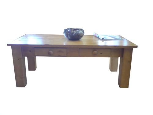 Wye Pine 4ft X 2ft Chunky Coffee Table - Finish: Unfinished - Stain: Mahogany