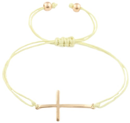 2 Pieces Of Neon Yellow With Goldtone Sideways Cross Charm Adjustable String Bracelet