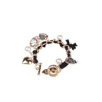 New Fashion Leopard Grain Peach Heart Bracelet-Black&Golden