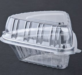 Cheesecake Containers Plastic Clear Wedged Hinged with Mini Tasting Spoon -25 sets (Cake Slice Container compare prices)