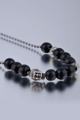 Dyoh Spiritual Jewelry Collection - 9mm Antique Stardust and Buddha Charm Necklace