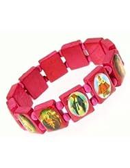 Elasticated Wooden Saints Bracelet / Jesus Bracelet / All Saints Bracelet - pink