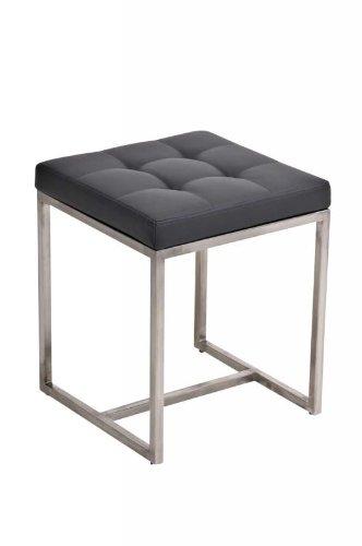 CLP gepolsterter Edelstahl Sitz-Hocker BARCI, 40 x 40 cm, bis zu 12 Farben wähbar, Sitzhöhe 48 cm grau