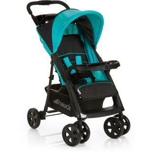 Hauck Shopper Comfortfold Pushchair - Black and Aqua.
