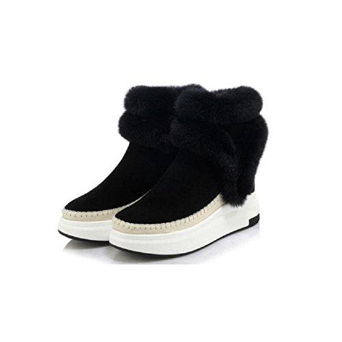 YYH Donna inverno e Cashmere Muffin caldi piattaforma stivali Nubuck Casual stivali da neve ispessito cranio Patch lana Bootie , black , 38