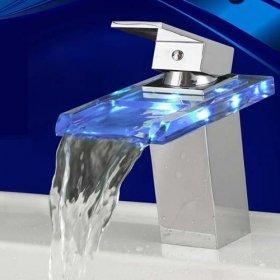 Single Handle Chrome Waterfall Bathroom Sink Taps