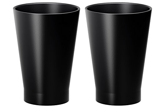 Ikea papaja black ceramic 5 diameter 7 planter pot set for Black planters ikea