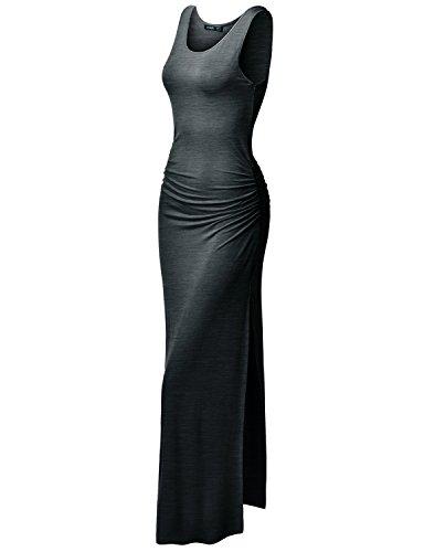 Thanth Womens Sleeveless Side Shirring Summer Maxi Long Dress Charcoal L