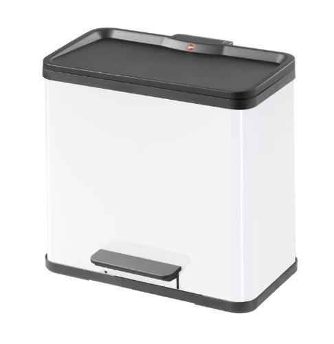 Hailo 0630-419 Trento Eco Duo Rubbish Separator Pedal Bin 30 White