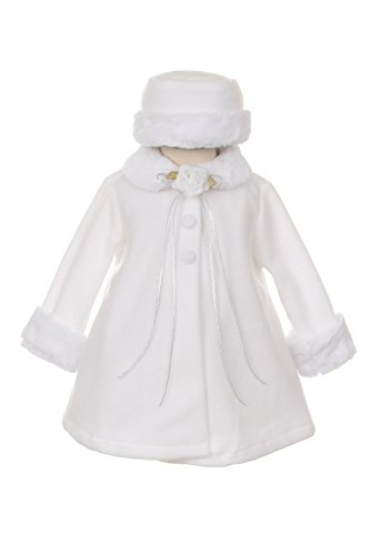 Girl's Cozy Fleece Long Sleeve Cape Jacket Coat - White Infant S 3-6 Months