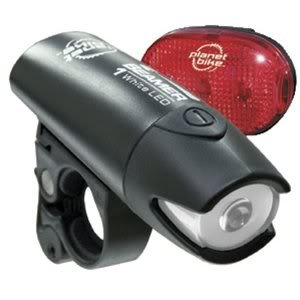 Toy / Game Planet Bike Beamer 1 And Blinky 3 Led Bicycle Light Set With Batteries, Mounting Supplies And More