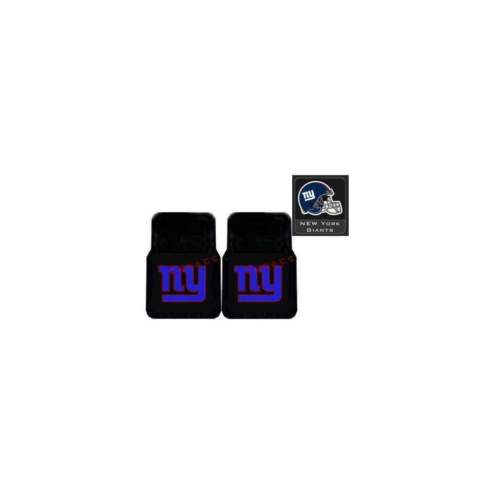3 Piece New York Giants Automotive Interior Gift Set   A Set of 2 NFL Licensed Universal Fit Molded Front Rubber Floor Mats and One Official NFL Licensed Team Helmet Logo Air Freshener Pine Forest Scent