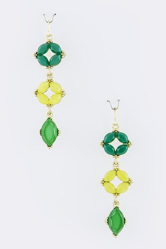 Baubles & Co Faceted Jewel Drop Earrings (Green/Yellow) front-1035623