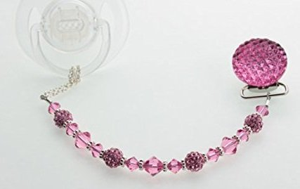 Magenta Crystal Beaded Luxury Pacifier Clip (CQM)