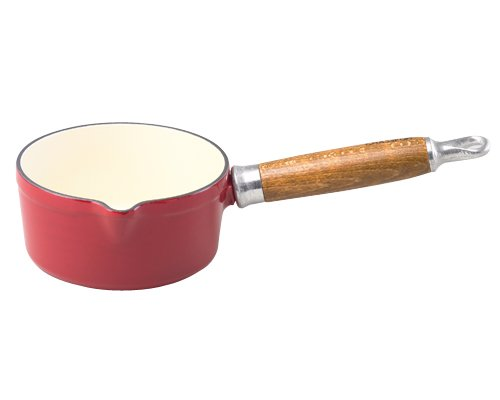 Chasseur Enamel Cast-Iron Sauce Pan With A Beautiful Wooden Handle, Red (Sauce Beautiful compare prices)