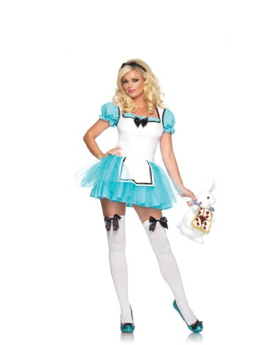 2 Piece Tutu Apron Enchanted Alice Girl Costume in Aqua/White, Sizes From xSmall (UK 6) – xLarge (UK 14)
