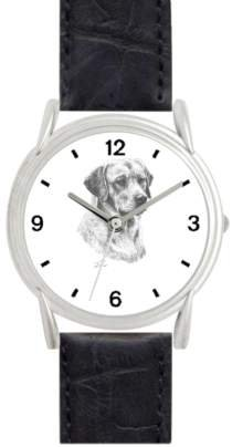 LABRADOR RETRIEVER (YELLOW) DOG (MS) - WATCHBUDDY® DELUXE SILVER TONE WATCH - Black Strap - Small Size (Standard Women's Size)