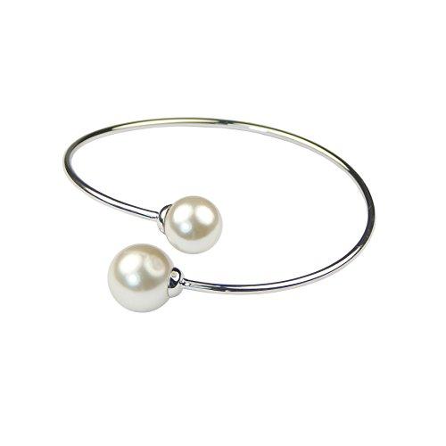 Doppelte Perlen Weiß Vergoldet Designer Fashion Armreif/Armband, Top Qualität