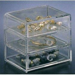 3 Drawer Jewelry Box Clear  4 75 h x 5 25 w x 4 5 dB0000E1VVM