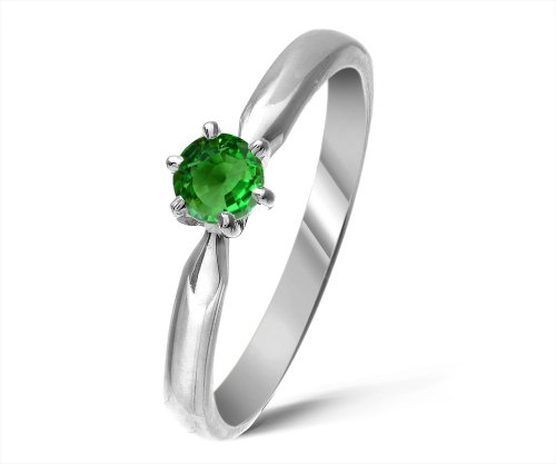 Modern 9 ct White Gold Ladies Solitaire Engagement Ring with Tsavorite 0.25 ct