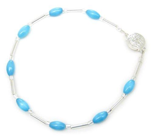 AM5052 – Unique Turquoise Cats Eye Bead Bracelet by Dragonheart – 20cm