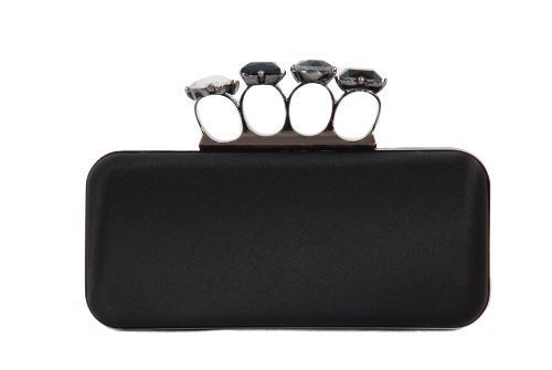Black satin box clutch bag minaudiere knuckle duster with finger holes by Olga Berg