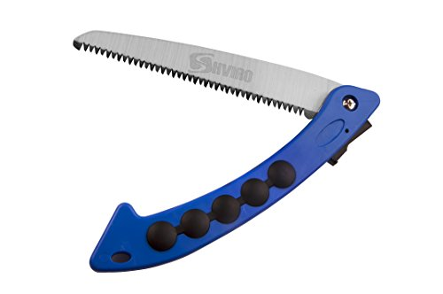 SHVIRO Folding Hand Saw - Ideal Tree Pruning Tool for Your garden - High Carbon Steel Blade with Heat Treated Rugged Teeth - Durable and Easy to Use - 7 inch - Blue (Cordless Bolt Cutter compare prices)