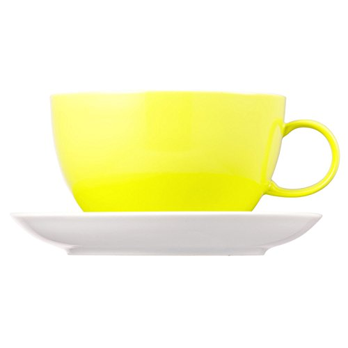 Thomas Sunny Day Jumbo Cup with Saucer, Porcelain, Lime Green, Dishwasher Safe, 450 ml, 2Pcs., 14780 lime day