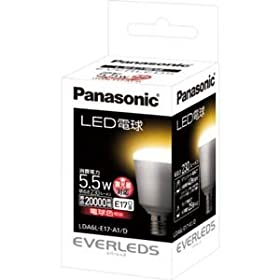 【クリックで詳細表示】パナソニック LED電球(全光束:230 lm/電球色相当)【調光器対応モデル】Panasonic EVERLEDS(エバーレッズ) 口金E17 LDA6LE17A1D: ホーム&キッチン
