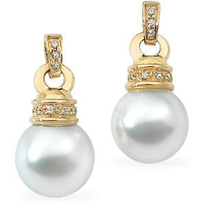 Genuine IceCarats Designer Jewelry Gift 18K Yellow Gold South Sea Cultured Pearl And Diamond Earring. Pair- 1/6 Cttw/11Mm Fine Nr South Sea Cultured Pearl And Diamond Earrings In 18K Yellow Gold