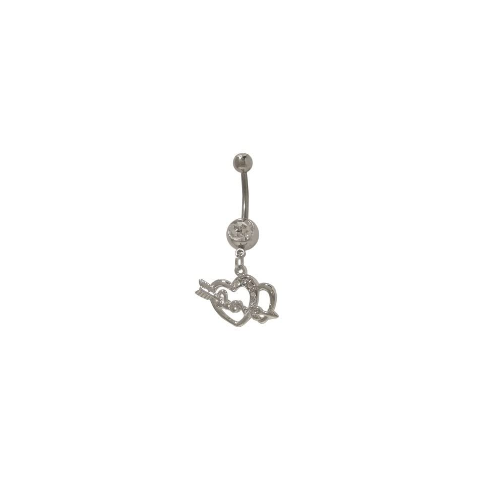 Love Arrow Thru Heart Belly Ring with Jewels   YO39830
