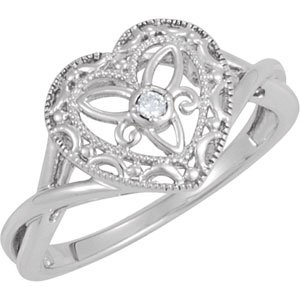 Genuine IceCarats Designer Jewelry Gift Sterling Silver .025 Ct Diamond Heart Ring. .025 Ct Diamond Heart Ring In Sterling Silver Size 5