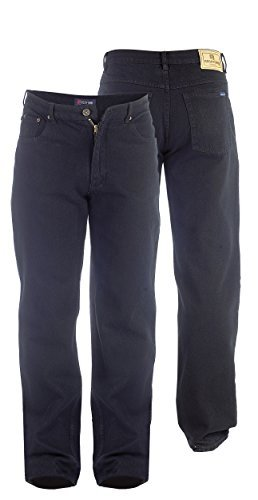 Duke Herren Jeans Comfort Straight Fit Extra Hoch Schrittlänge 35 36 37 38 - Herren, RJ720 - Schwarz, 40W x 34L