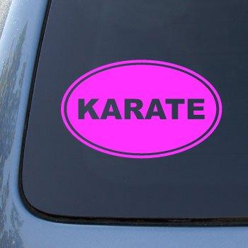 KARATE EURO OVAL - Martial Arts - Vinyl Car Decal Sticker #1723 | Vinyl Color: Pink