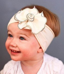 Lovely Ovely Unusal Cotton Girls Baby Flower Headband Hairband Bow White Big Flower