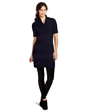Lilla P Women's  Elbow Sleeve Sweater Dress, Night Sky Lurex, Small