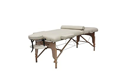 """Cream 77"""" Long 30"""" Wide 4"""" Pad Portable Massage Table Spa Bed"""