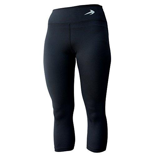 Compression Capri Pants For Women (Black-S) 3/4 Length Leggings