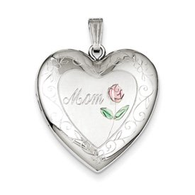 Genuine IceCarats Designer Jewelry Gift Sterling Silver 24Mm Enameled, D/C Mom Heart Locket