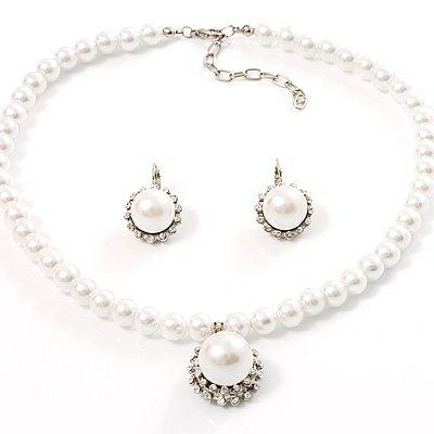 Silver Tone Glass Pearl Costume Jewellry Set
