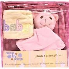 Baby Girl Plush 4-Piece Baby Items Set - Pink