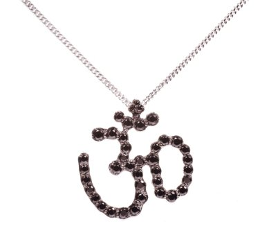 Sterling Silver Symbols of Hope & Protection Necklace Pendant Hinduism Black Cz & Sapphire