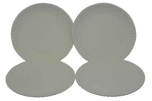 """Reusable White Dinner 9"""" Plates - Hard Melamine Plastic, Set Of 4. Looks Like Paper Plates"""