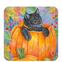 Black Halloween Kitten in Pumpkin Halloween Set of 4 Coasters Andrea Tachiera Legacy