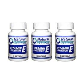 Natural Systems 3 Pack Vitamin E + Selenium 50 Softgels Antioxidant Health