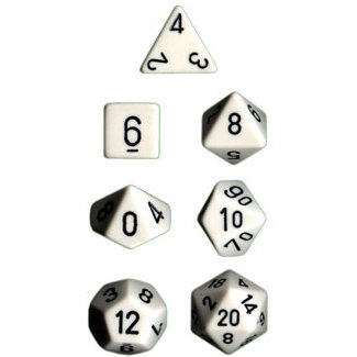 Polyhedral 7-Die Opaque Dice Set - White with Black