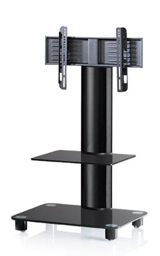VCM Bilano Aluminium Black Glass with Glass Shelf TV Stand includes Role Set, Black
