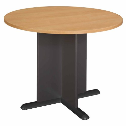 Bush Furniture Round Conference Table, Light Oak